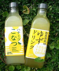 濃縮100%果汁はちみつジュース 2本セット こなつ・ゆず
